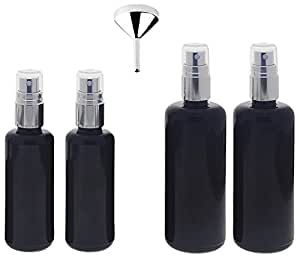 Violett-Glas Zerstäuber Flasche 2x 50, 2x 100ml + Trichter Mironglas-Flasche mit silber Sprüh-Pumper Kosmetex, Flakon, 4er-Set +Trichter