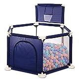 BAIF Laufgitter blau Playard mit Basketballkorb, Indoor Outdoor Kinderspielzaun Tragbarer Raumteiler für Kleinkinder