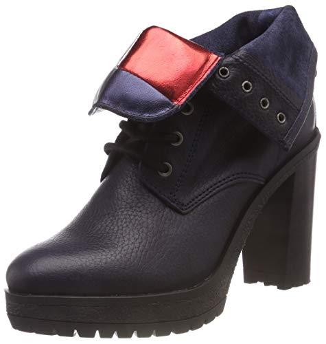 Hilfiger Denim Damen Big Flag LACE UP Heeled Combat Boots, Schwarz (Black 990), 38 EU