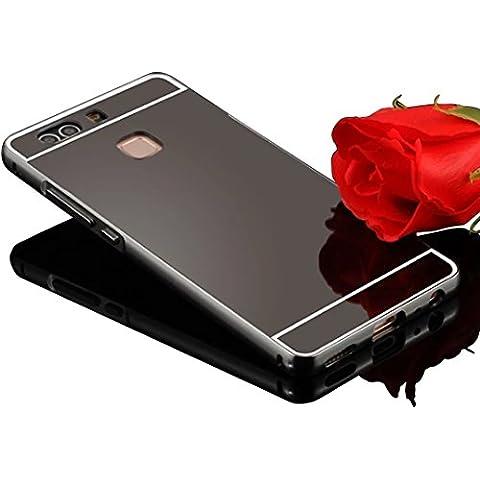 Sunroyal®Funda Huawei Ascend P9 Plus 5.5 Pulgadas carcasa Funda Súper Delgado Metal Aluminio Case Negro Metal Mirror Bumper phone Hard Cover with Frame caja del Teléfono Protectora funda chic marco + espejo espalda (Mirror