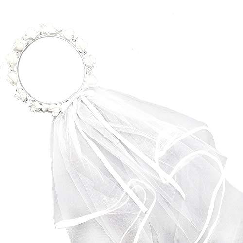 Blume Krone Schleier Girlande Kopfbedeckung Exquisite Zubehör Mesh Garten Bachelorette Brautgeschenke Deko Strand Hochzeit Weiß Rose Braut (Las Vegas Tiara)