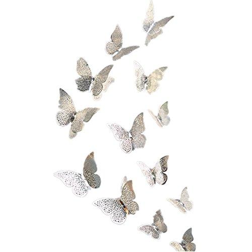 FORH 12 PCS 3D Schmetterlinge Wanddeko Aufkleber Abziehbilder Wand Aufkleber Hauptdekorationen Wandtattoo Schmetterlings Regenbogen Wand-dekor Kinder Baby Schlafzimmer Deko (Silber C)