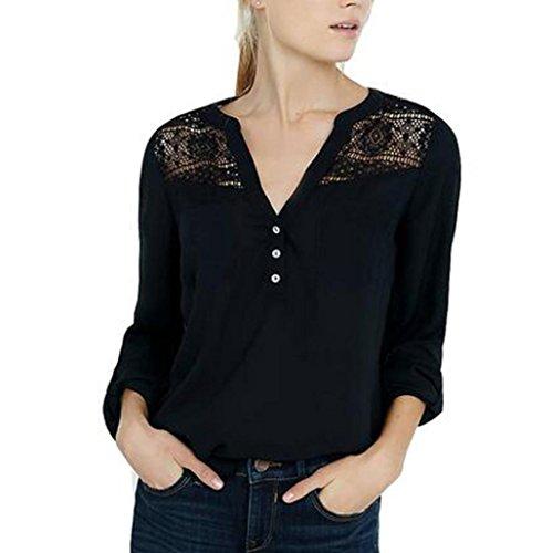 Damen Sweatshirt T-Shirt,Dasongff Damen V-Ausschnitt Chiffon Spitze Bluse Stitching Shirt Oberseiten Tops Einfarbig (L, Schwarz) (Sportliche Mesh-gewebe)