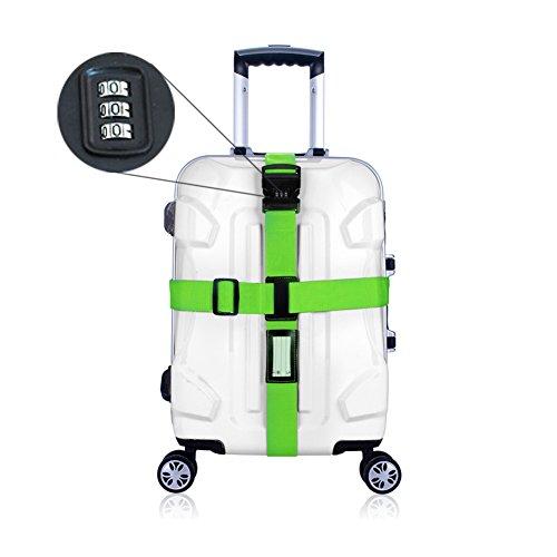 CSTOM (Verde) Cinghia Cintura Sicurezza con Combinazione per Valigia Bagaglio
