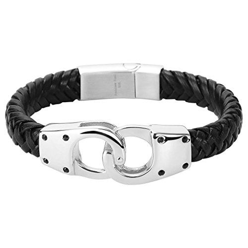 Epinki Herren Armband, 316L Edelstahl Leder Handschellen Form Armbänder Lederarmband Handhandgelenk Kette Schwarz Silber 22CM