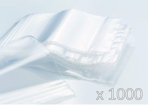 Bolsas de plastico con cierre zip - 50mm x 70mm - 1000 piezas(10x100) - 50 micras - Apta para el contacto alimentario
