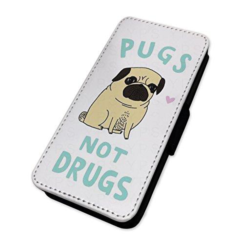 Pugs not Drugs Funny Dog Joke–Custodia ad aletta in pelle copertura di carta Apple Iphone 7 Plus