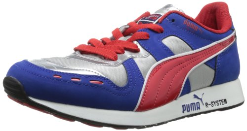 Puma RS100 HL Hommes Toile Baskets 6874 Bleu - Silver-Blue-High Risk Red