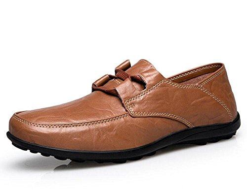SHINIK Hommes en plein air en cuir de la vie quotidienne chaussures décontractées faible chaussures chaussures plates Camel