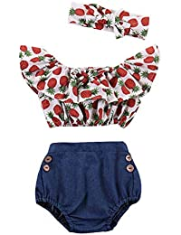 Mitlfuny Niños Recién Nacido Camisetas de Manga Corta Jeans Conjunto de  Verano Ropa Cintura Alta Florales Blusas para Bebé Niña Niño… d94f0ca583b1