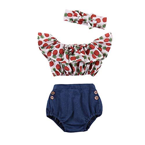 06f4b16eba2 Mitlfuny Niños Recién Nacido Camisetas de Manga Corta Jeans Conjunto de Verano  Ropa Cintura Alta Florales
