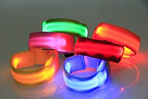 Pet Leso® LED Lighting Sliver Brassard Marche En Toute Sécurité/Course Clignotant Bracelet, Nuit Cyclisme Jogging Réfléchissant Brassard Réglable Amateurs De Plein Air Visibles Lighting Hip-Hop Performances Props,Vert