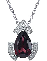 "Sterling Silver Garnet Pendant (1.10 CT) With 18"" Chain"