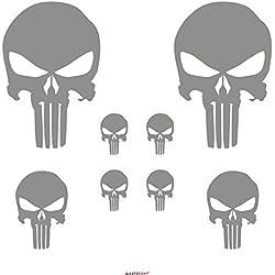 Autodomy Autocollants Punisher Crâne Pack de 8 unités pour la Voiture ou la Moto (Argent)