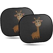 CARTO Tendine parasole auto per finestrini laterali adatto per bambini con tenero motivo con giraffe – autoadesivo