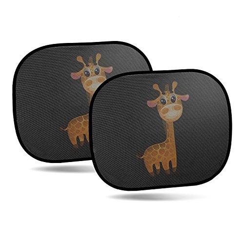 CARTO 2er-Pack selbstklebende Sonnenblenden für Autoscheiben, mit niedlichem Giraffenmotiv - Sonnenschutz für Kinder und Babys / für Seitenscheiben - - Auto Sonne Für