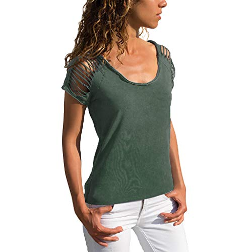 Damen Besonderes Kurze Ärmel, LeeMon Womens Sexy O-Neck Cut Out Kurzärmeliges T-Shirt mit Fester Bluse -