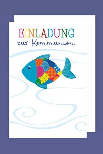 Kommunion Einladungen Karte 5er Set Lebens Fisch 5 Doppel Karten B6