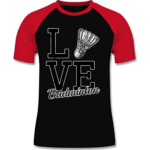 Sonstige Sportarten - Love Badminton - zweifarbiges Baseballshirt für Männer Schwarz/Rot