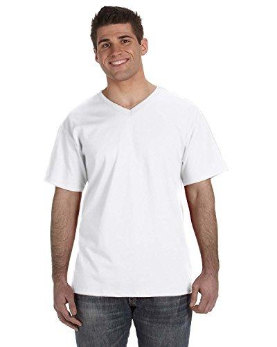 Fruit of the Loom 39VR 100% schwere Baumwolle HD V-Ausschnitt T-Shirt Weiß