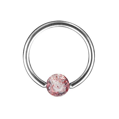 Piercingfaktor Piercing Brust Nippel Intimpiercing Ring Hufeisen Ultra UV Glitter Kugel - Rot / 1,6mm x 12mm x 5mm