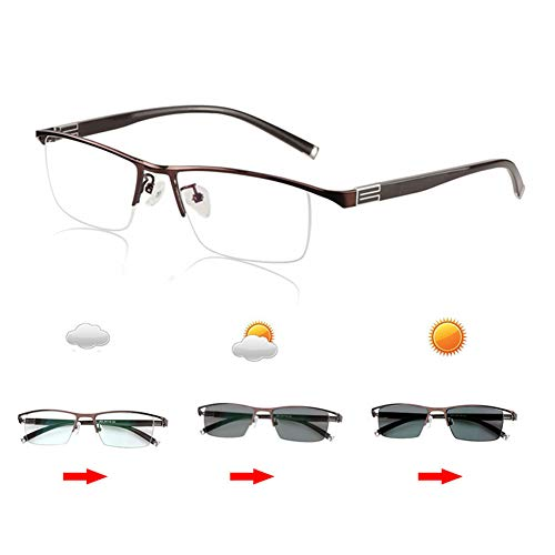 Eyetary Lesebrille Progressive multifokale photochrome Sonnenbrille, Asphärische bifokale Linse Outdoor-Readers für UV400 / Blendschutz/Vergrößerung 1,00 bis 3,00 Stärke,Brown,+1.75