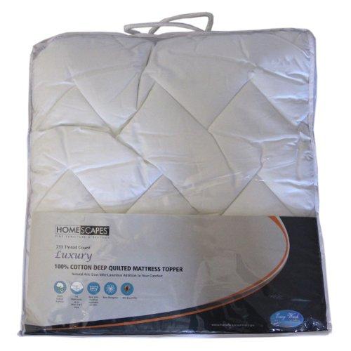 Homescapes - Cubrecolchón acolchado de lujo en algodón, anti-ácaros, 150 x 200 cm, color blanco