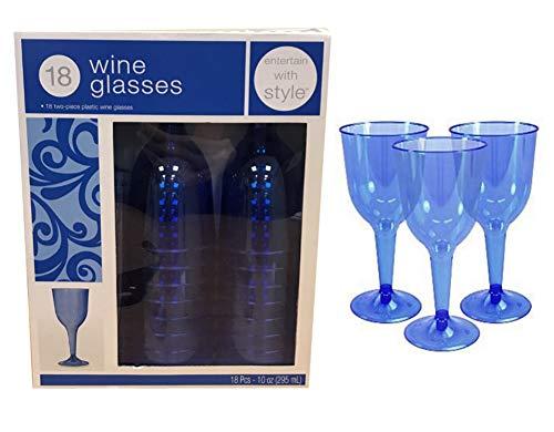 Plastique flûtes à champagne/verres à vin fête de mariage Prosecco solide gobelets x18 Blue Wine Glasses