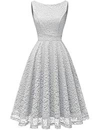 9b06bc55e2a1 Bbonlinedress Vestito Donna in Pizzo Elegante Cerimonia Cocktail Matrimonio Senza  Manica