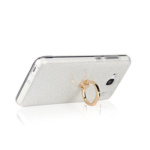 Meimeiwu 2 in 1 Ultra Slim TPU Bumper Back Cover Case Custodia With 360 Degree Rotating Ring per XiaoMi Redmi 3 Pro - Nero Argento