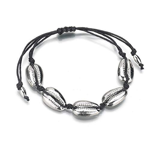 e Natürliche Muschel Armband, Hawaiian Boho Handgemachte Gewebte Muschel Armbänder Justierbares Armband Mädchen Frauen Beste Geschenk für Sommer Strandurlaub(Style 20-Silver) ()
