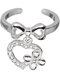Pori Jewelers 18kt White Gold-Plated Sterling Silver CZ Bow Dangle Heart Flower Toe Ring