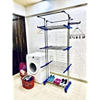 TNC;WORLD OF MODERN UTILITY PRODUCTS Rust-free Mounted Stainless Steel Floor Cloth Dryer Stand (Blue)