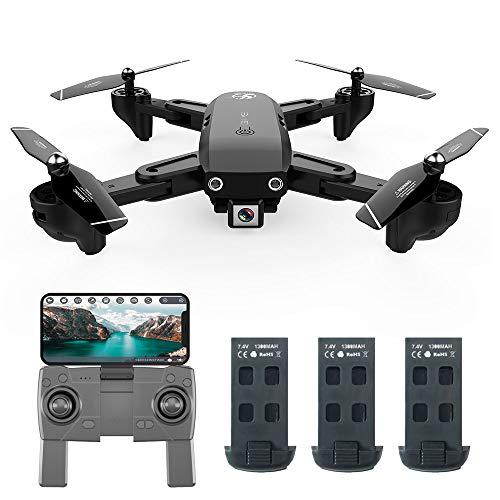 Goolsky CSJ S166GPS Drohne mit Kamera 1080P Follow me Auto Zurück nach Hause WiFi FPV Live Video Geste Fotos RC Quadcopter für Erwachsene (3 Batterien) - Foto Haus