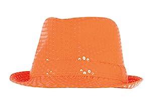 Boland 61774 - sombrero adulto Popstar Lentejuelas, tamaño de la unidad, naranja neón