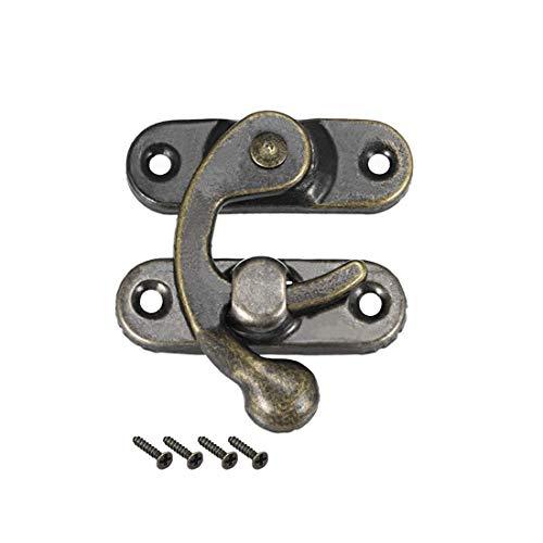 ZCHXD Antique Left Latch Hook Hasp, Swing Arm Latch Plated Bronze 2 Pcs w Screws -