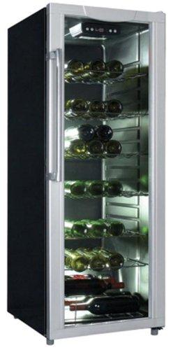 Exquisit BE 1-28 Stand-Weinkühler, silberfarben, 5 Regale, Schwarz, rechts, 65 Flaschen