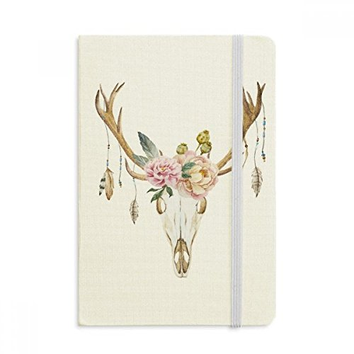 DIYthinker Rotwild-Kopf-Blumen-Blatt-Nation Notebook Stoff Hard Cover Klassisches Journal Tagebuch A5 A5 (144 X 210mm) Mehrfarbig (Notebook Nation)