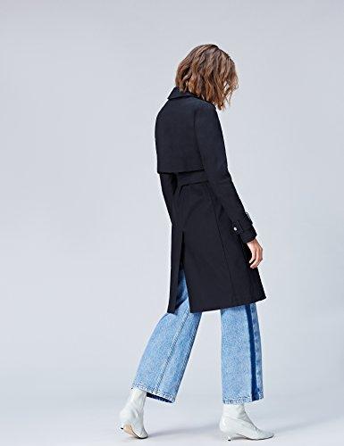 FIND Mantel Damen Trenchcoat Style mit asymmetrischem Cape und Gürtel Blau (Navy), 34 (Herstellergröße: X-Small) - 3