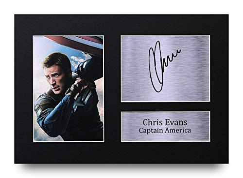 HWC Trading Chris Evans Geschenke Unterzeichneten A4 Gedrucktes Autogramm The Avengers Captain America Druck-Foto-Bilderanzeige (Weihnachten America Captain)