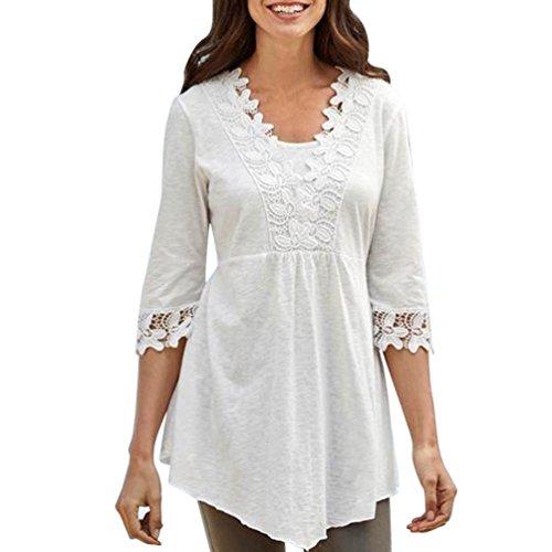 DOLDOA Damen bekleidung Damen Oberteile,DOLDOA O-Ausschnitt Lässige Basic Solid Spitze Stitching 1/2 Arm T-Shirt Top Bluse (EU:50, Weiß,Spitze Stitching 1/2 Arm ()