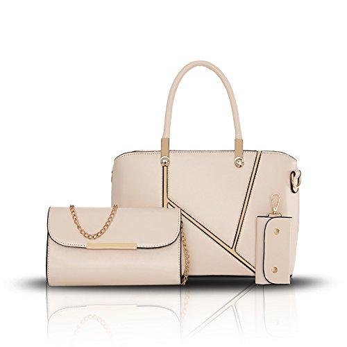 Sunas Il nuovo modo di svago delle borse delle donne di cucito tre insiemi delle borse della spalla del sacchetto delle donne + portafoglio + catena chiave bianco