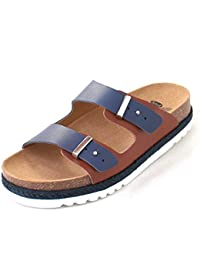 Scholl Olympe Navy Blue Tan Leather