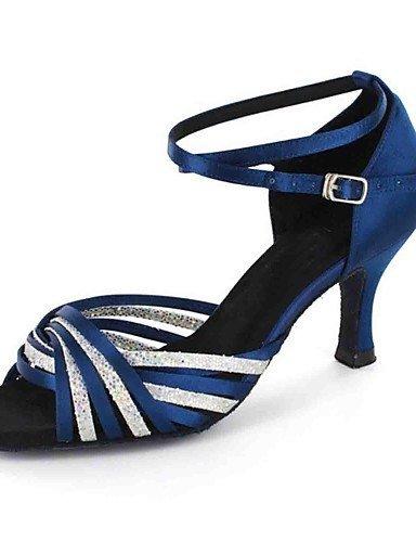ShangYi sandales femmes latines personnalisées talon satin avec des chaussures de danse de buckie (plus de couleurs) Blue