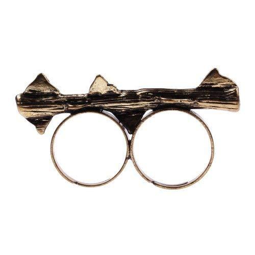 Dornen Ring Bronze Doppelring - verstellbare Größe - Rosen Retro Vintage Rose Zweig Dorne
