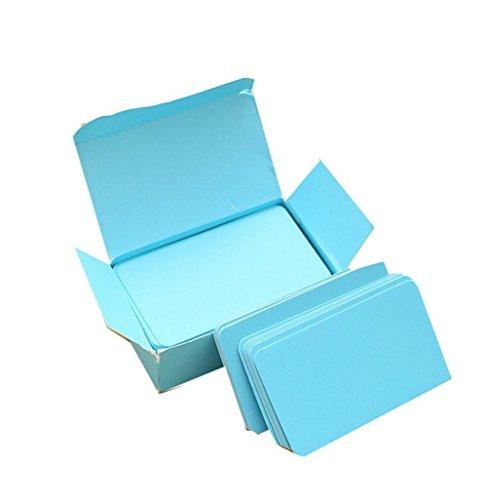 Qinlee 100 Seiten Kleine Karte Wortkarten/Notizblöcke/Hochzeit/Kommunion/Konfirmation/Mitteilungs-Karte Grußkarte/DIY Blank Gift Card/Doodle Papier Word Karte (Blau)