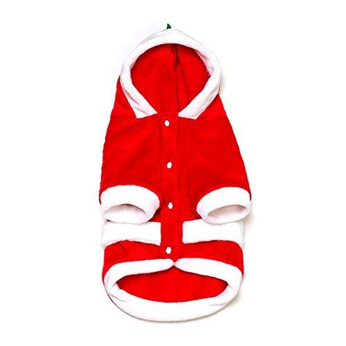 KOBWA Haustierkostüm für Halloween, warmes Outfit, Weihnachtsmannkostüm, verstellbar, waschbar, Haustier Anzug mit Mütze, Weihnachtskostüm, Katze, Hund und Hundezubehör, Hundebekleidung