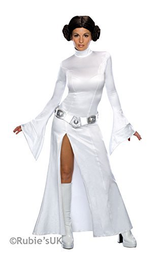 Damen Sexy Prinzessin Leia Star Wars Plus Perücke Lizenzprodukt Buch Tag Fancy Kleid Kostüm Outfit UK 6-18(UK (Sexy Star Wars Outfit)