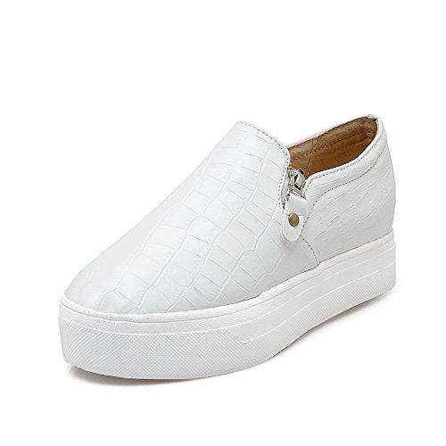 VogueZone009 Damen Rund Zehe Weiches Material Rein Reißverschluss Pumps Schuhe Weiß