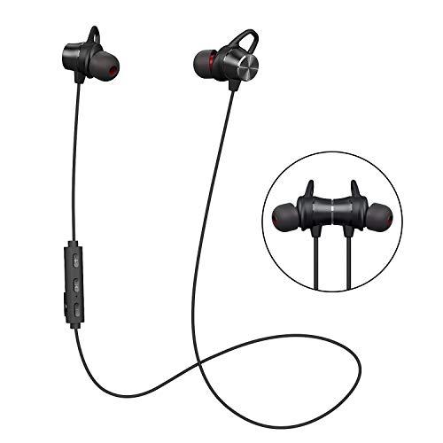 Auriculares Bluetooth Magnéticos, Auriculares Deportivos Inalámbricos con Micrófono, IPX4 Impermeable HD Estéreo Auriculares, Cancelación de Ruido In Ear Auriculares para Correr, Leyendo, Caminar (Negro)